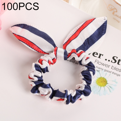 100 PCS Rabbit Ears Hair Band Kids Hair Accessories Elastic Hairband Girl Rubber Band Polka Dot Hairline(Red White Black )