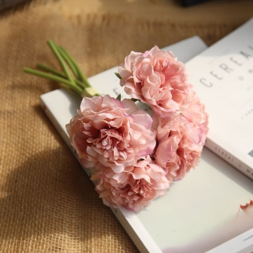 5 Heads Fake Flowers Artificial Flowers Peony Bouquet for Wedding and Home Decoration(Pink)