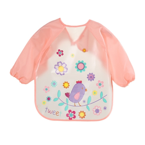 Baby Bibs Waterproof Long Sleeve Apron, Size:One Size(Pink Bird)