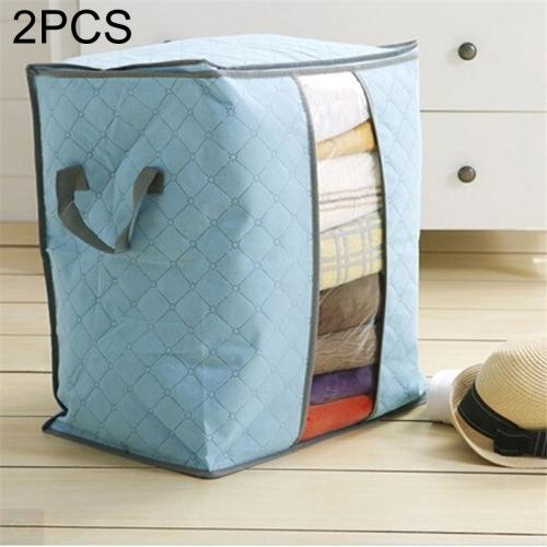 2 PCS Portable Storage Bag Box Non Woven Underbed Pouch Storage Box Clothes Storaging Bag, Color:Blue