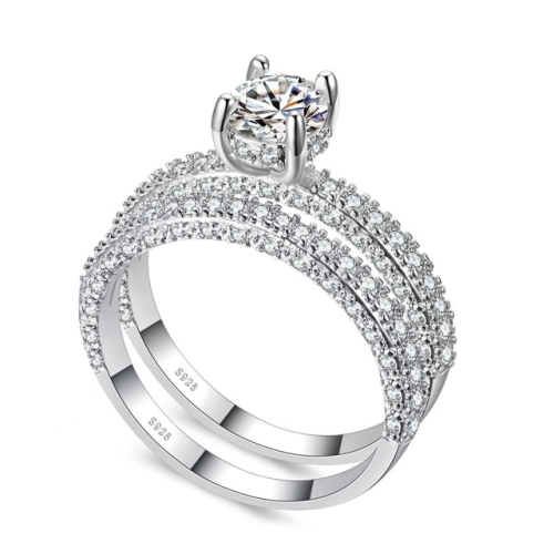 Double Row For Women Fashion Cubic Zirconia Wedding Engagement ring, Ring Size:6(Round White Gold)