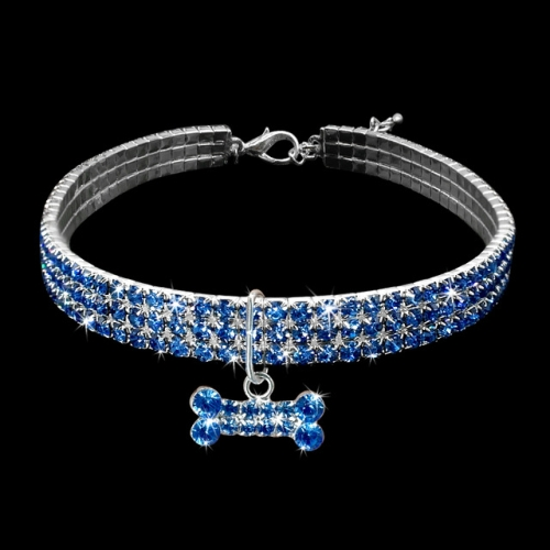 2 PCS Bling Rhinestone Dog Collar Crystal Puppy Chihuahua Pet Dog Collars Leash For Small Dogs Mascotas Accessories M(Blue)