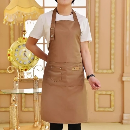 Pure Color Cooking Kitchen Apron For Woman Men Chef Waiter Cafe Shop BBQ Hairdresser Aprons(Coffee) фото