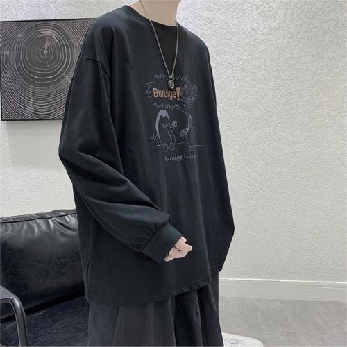 sunsky-online.com - 15% OFF by SUNSKY COUPON CODE: TBD0493954501 for Long-Sleeved T-Shirt Cartoon Printing Loose Sweathershirt Base Shirt, Size: M(Black)