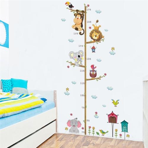 Cartoon Animals Lion Monkey Owl Elephant Height Measure DIY Waterproof PVC Wall Sticker