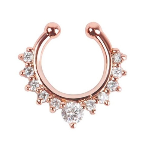 3PCS Alloy Hoop Nose Ring Nose Fake Piercing Septum Jewelry(Rose Gold)