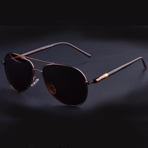 Men Oversized Aviation Metal Frame Spring Temple Polarized Sunglasses Male Pilot Male Driving Sun Glasses(Coffee Frame )