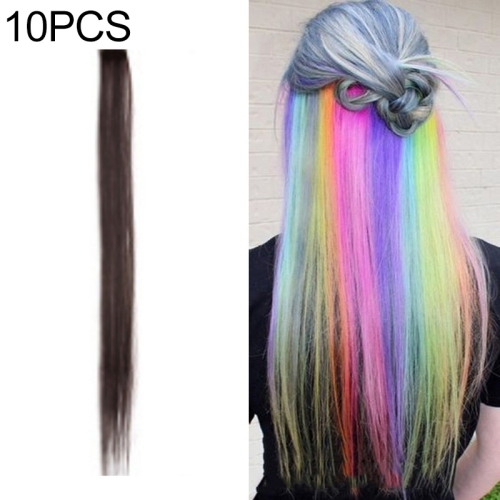 10 PCS Chemical Fiber Wig One-Step Gradient Color Single Card Wig, Stretched Length:24inches(28#)