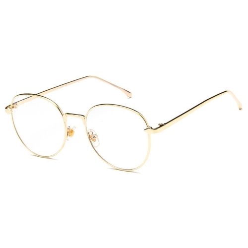 Retro Simple Round Frame Plain Glass Spectacles(Gold)