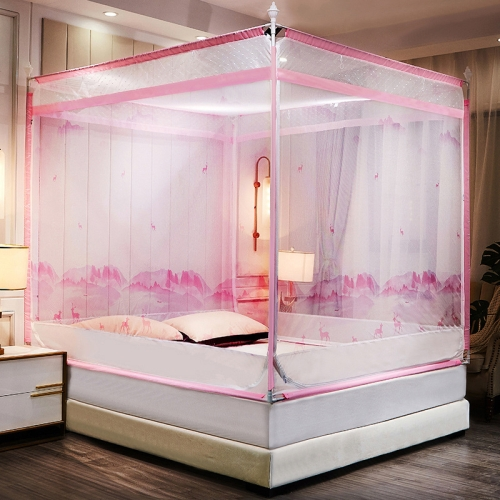 Children Anti-drop Encryption Thickened Zipper Mosquito Net, Size:180x200x170 cm(Mountain Deer Pink)