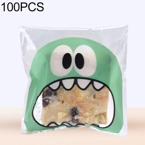 100 PCS Cute Big Teech Mouth Monster Plastic Bag Wedding Birthday Cookie Candy Gift OPP Packaging Bags, Gift Bag Size:10x10cm(Green)