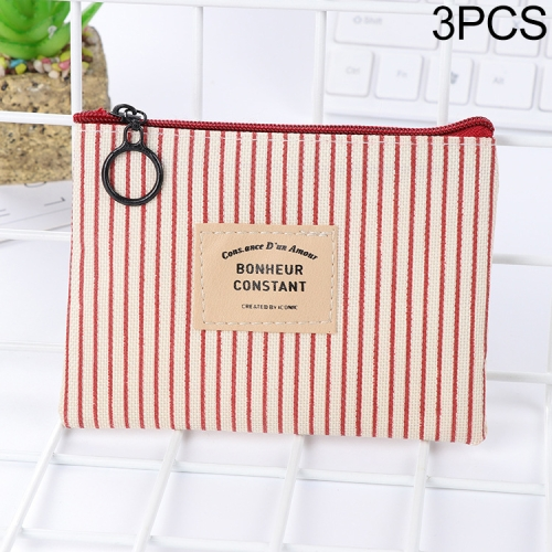 3 PCS Canvas Purse Card Key Coin Mini Zipper  Purse(Pink)