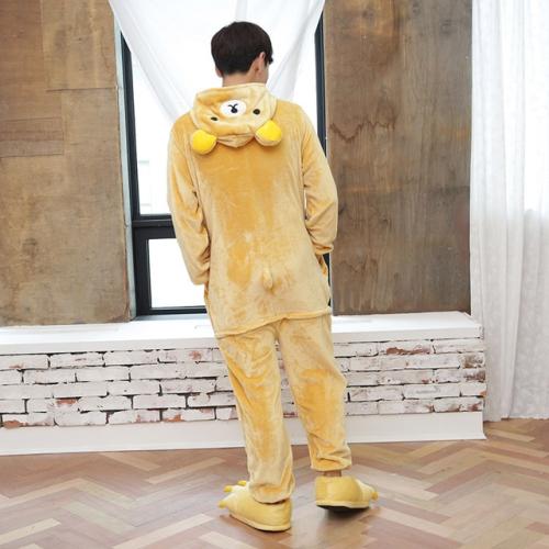 Adults Animal Pajamas Set Cartoon Women Men Winter Unisex Flannel Stitch Pajamas, Color:Easy Bear(XL)