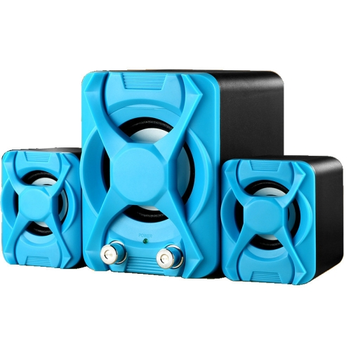 Wired Computer Speaker Subwoofer Stereo Bass USB 2.1 Speaker 3D Atmosphere PC Portable Speakers for Laptop Notebook Computer(blue)