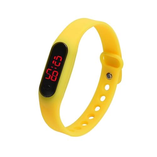 Delicate Sports Watches Rubber LED Women Mens Date Sports Bracelet Digital Wrist Watch(Yellow)