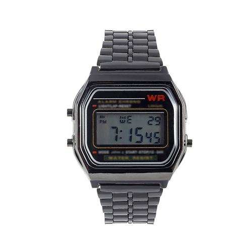 Men Sports Watches Military Quartz LED Digital Waterproof Quartz Golden Women Men WristWatch(Black)