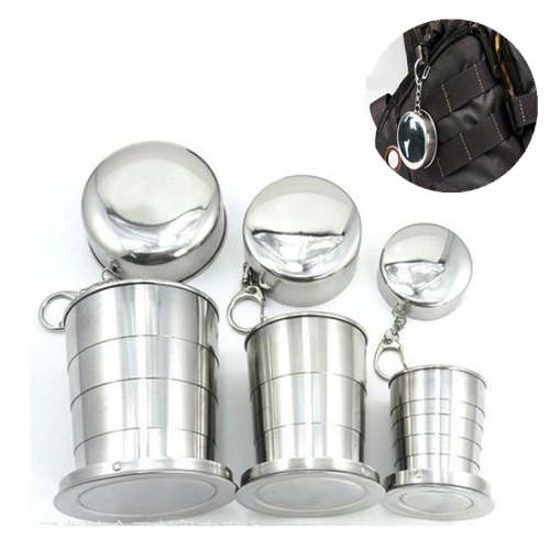 Stainless Steel Camping Folding Cup Traveling Outdoor Camping Hiking Mug Portable Collapsible Cup L 250ML