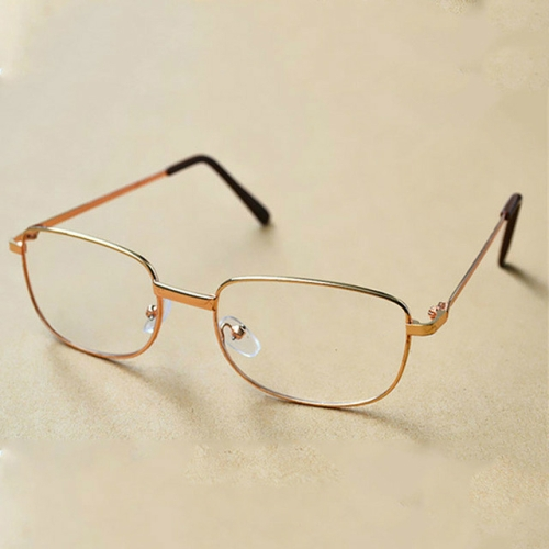 Full Metal Frame Resin Lenses Presbyopic Glasses Reading Glasses +3.00D(Gold)