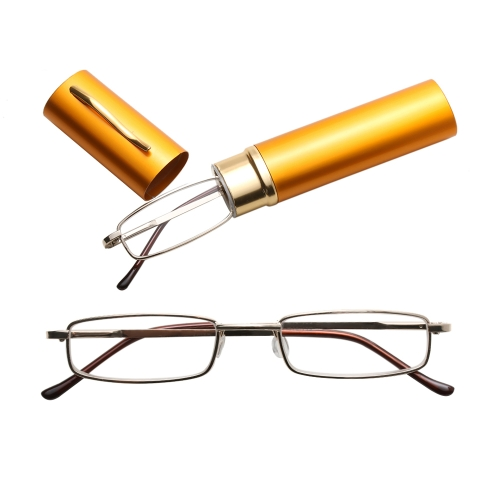 Reading Glasses Metal Spring Foot Portable Presbyopic Glasses with Tube Case +1.50D(Yellow )