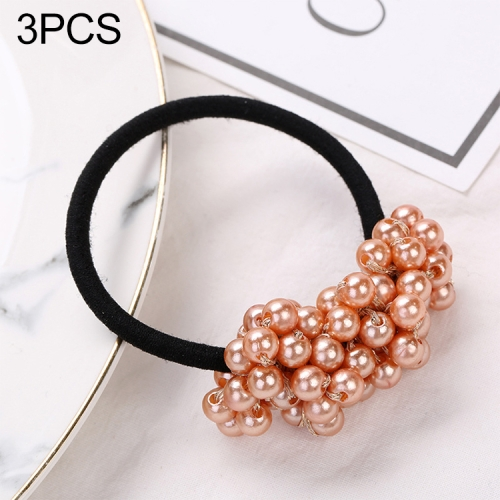 3PCS Women Hair Accessories Pearls Beads Scrunchie Ponytail Holder Girls Ponytail Rubber Rope Hair Bands