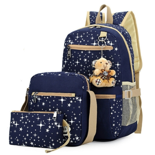 Fashionable Canvas Star Printing Backpacks with Bear Pendant Travel Bag Rucksacks, 3 PCS / Set(Dark Blue)