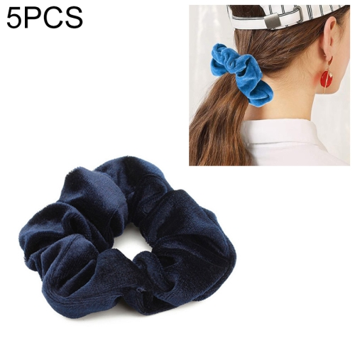 5 PCS Velvet Solid Color Elastic Hair Bands Ponytail Holder Scrunchies Tie Hair Rubber Band Headband(Deep Blue)