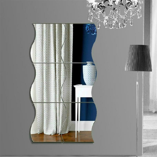 Wall Mirror Acrylic DIY Wave Style Removable Glass Sticker Makeup Mirror Home Bedroom Decorative(Silver)