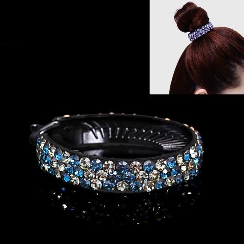 Meatball Hair Accessories Women Hair Claws Headwear Rhinestone Flower Hairpin Bird Nest Type Twist Clip(Grey Blue)