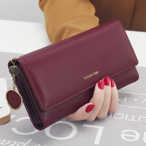 Women Wallets Long Style Multi-functional wallet Purse Fresh PU leather Female  Card Holder(Burgundy)