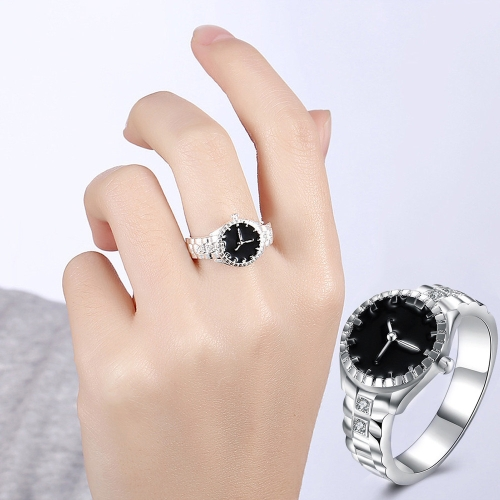 Creative Diamond Dial Quartz Watch Rings(6)