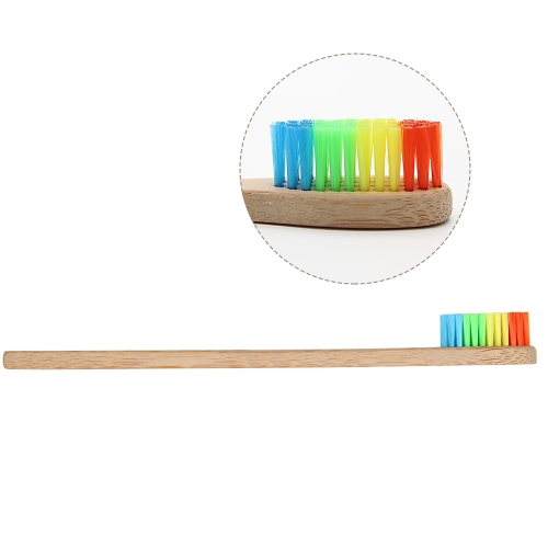2 PCS Oral Care Soft Bristle Colorful Head Rainbow Bamboo Toothbrush