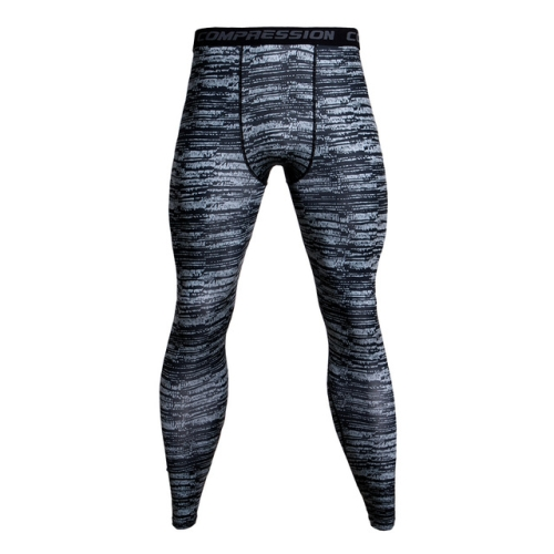 Running Football Training Fitness Compression Tights Pants for Men, Size:XXL(Gray and Black Stripes)