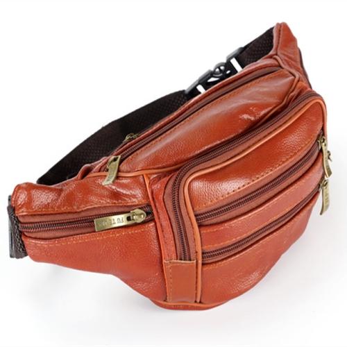 Fashion Men Genuine Leather Waist Bags Travel Necessity Organizer Mobile Phone Bag(Light Brown)