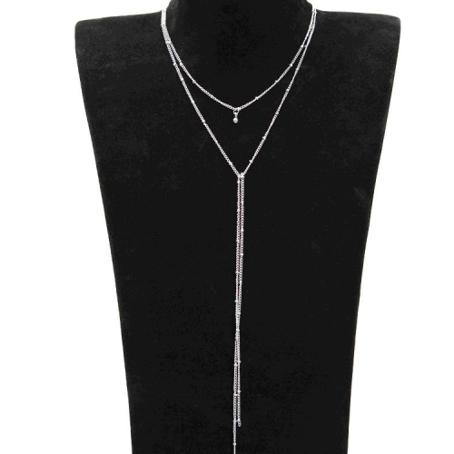 Fashionable Long Chain Double Drop Collarbone Chain Choker Handmade Copper Bead Tassel Necklace For Women(Silver)