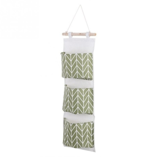SUNSKY   3 Pockets Cotton Linen Wall Hanging Door Pouch ...