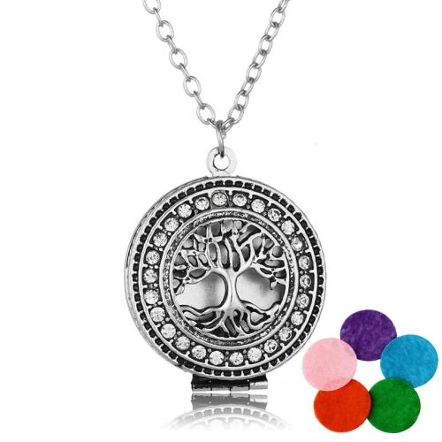 Multi-drill Color Life Tree Aromazer Diffuser Pendant Necklace(NX148+Silver+White Diamond +5 Color Slices)
