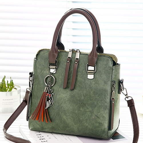 Vintage PU Leather Ladies HandBags Women Messenger Bags Totes Tassel Designer Crossbody Shoulder Bag Boston Hand Bags(Army Green)