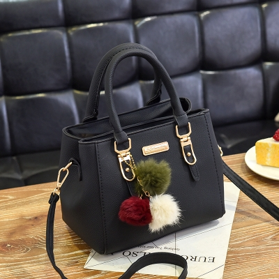 Ladies Crossbody Shoulder Bags Leisure Fashion PU Slant Shoulder Bag Handbag with Plush Ball(Black)