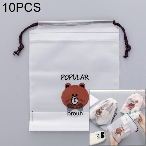 Brown Bear Transparent Cosmetic Bag Travel Makeup Case Women Wash Kit Organizer Storage Pouch, Size:20.4X15.8cm