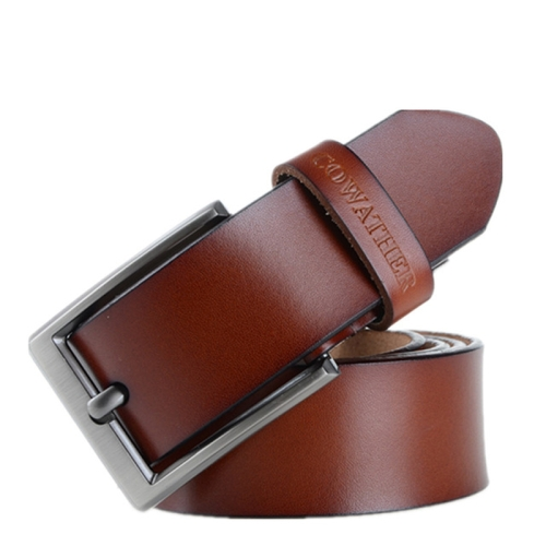 COWATHER XF002 Men Genuine Leather Luxury Business Casual Pin Buckle Belt, Belt Length:115cm(XF002 Brown)