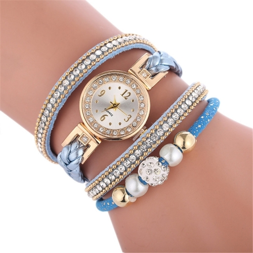 Duoya D249 Woven Twisted Pearls Round Analog Quartz Wrist Bracelet Watch for Ladies(Blue)