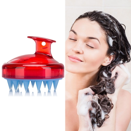 Silicone Head Scalp Massage Brush Hair Washing Scalp Cleanse Comb(Red)