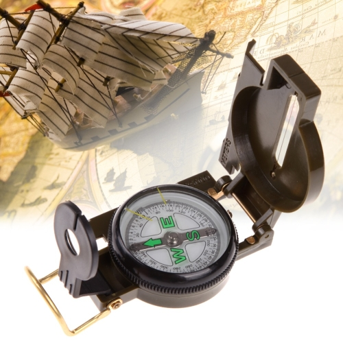 Portable Folding Army Green Lens Compass Multifunction Mini Camping Climbing Outdoor Tool