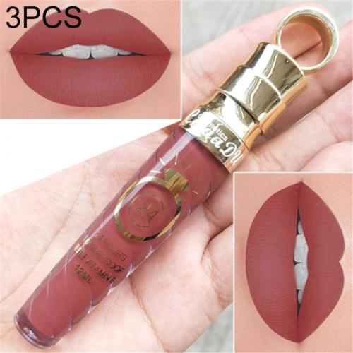 3 PCS Make Up Lips Matte Liquid Lipstick Waterproof Long Lasting Sexy Pigment Nude Glitter Style Lip Gloss Beauty Red Lip Tint(3)