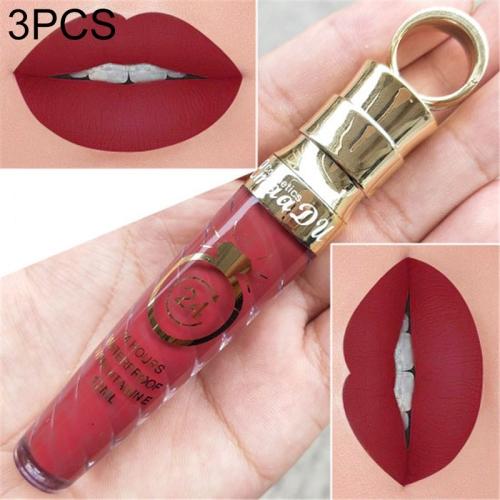 3 PCS Make Up Lips Matte Liquid Lipstick Waterproof Long Lasting Sexy Pigment Nude Glitter Style Lip Gloss Beauty Red Lip Tint(9)