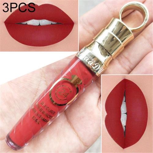 3 PCS Make Up Lips Matte Liquid Lipstick Waterproof Long Lasting Sexy Pigment Nude Glitter Style Lip Gloss Beauty Red Lip Tint(10)