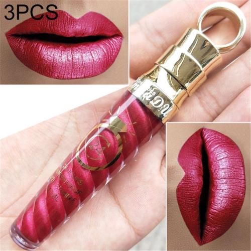 3 PCS Make Up Lips Matte Liquid Lipstick Waterproof Long Lasting Sexy Pigment Nude Glitter Style Lip Gloss Beauty Red Lip Tint(17)