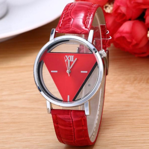 Snake Belt Women Watch Double-Sided Hollow Perspective Triangle Quartz Watch(Red)
