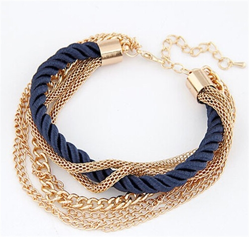 Fashion Multilayer Charm Bracelet Exaggerated Handwoven Rope Bracelet(Blue)