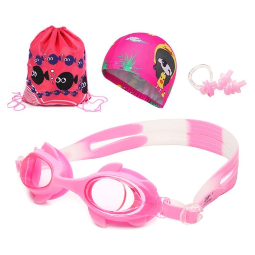 4 in 1 Cartoon Little Crab Waterproof and Anti-fog Silicone Swimming Goggles + Printed Pattern Swimming Cap + Nose Clip Earplugs + Storage Bag Swimming Equipment Set for Children(Pink Fish)